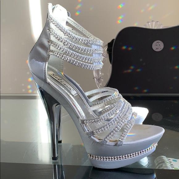 Silver Rhinestone Platform Formal Heels